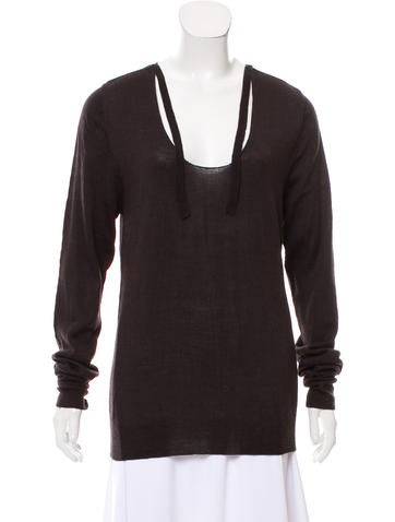 Étoile Isabel Marant Scoop Neck Tie-Accented Sweater None