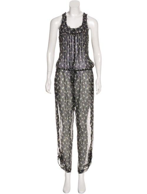 Étoile Isabel Marant Printed Silk Jumpsuit Black
