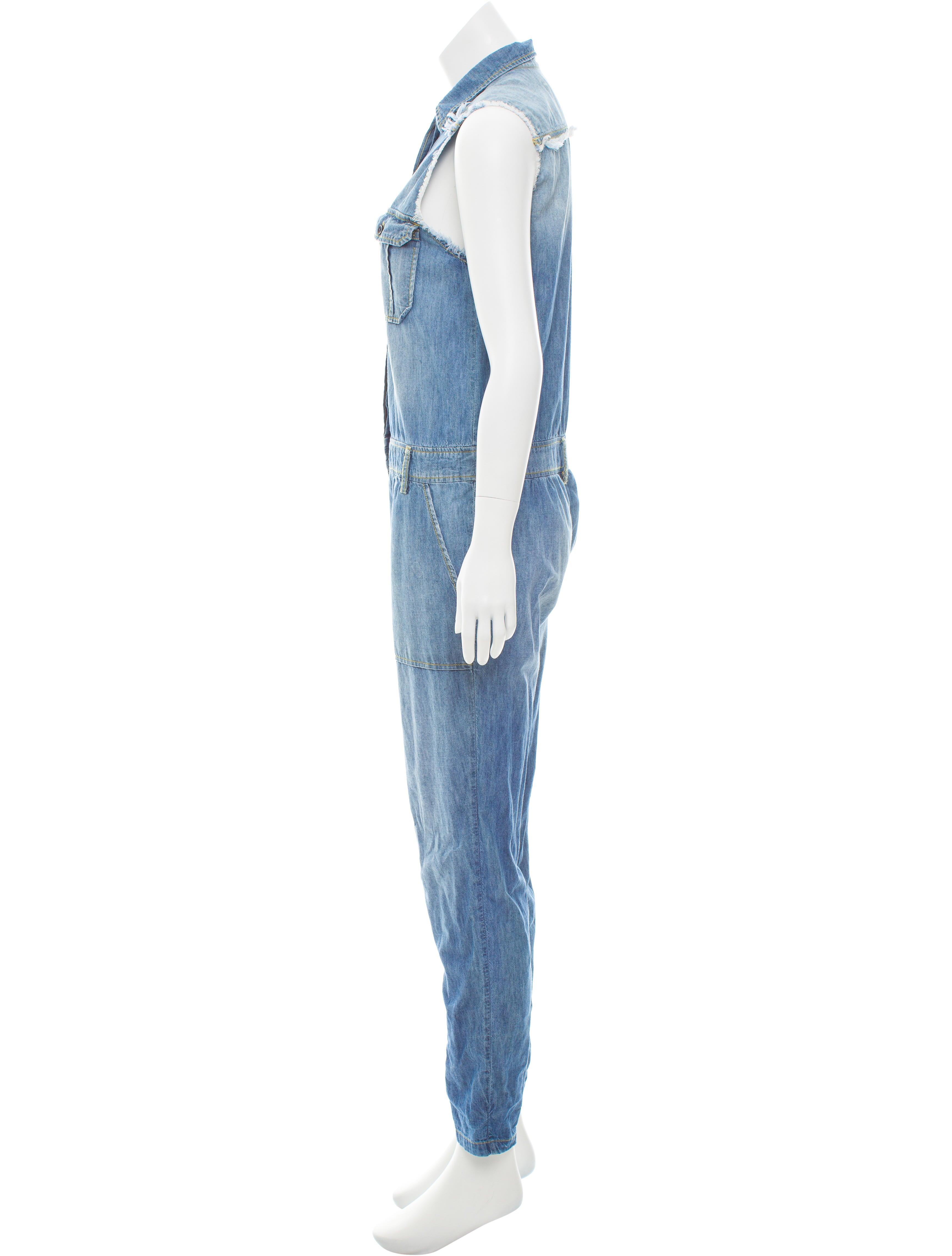 etienne marcel sleeveless denim jumpsuit clothing