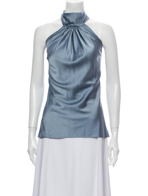 Emerson Thorpe Silk Halterneck Blouse Blue