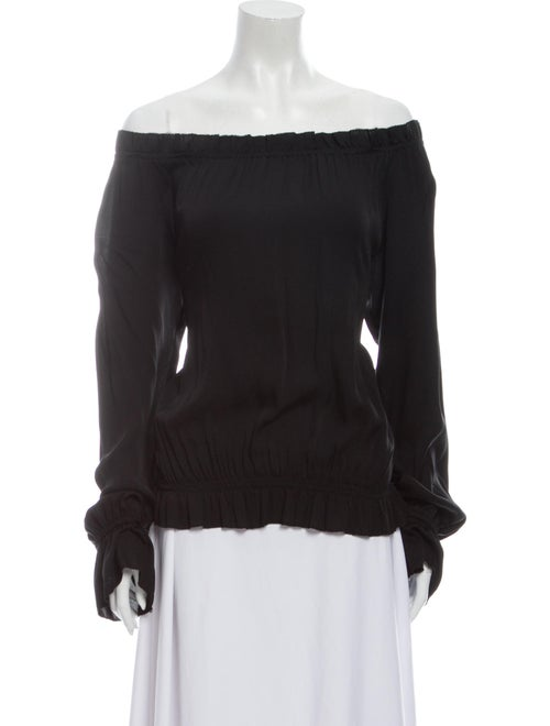 Emerson Thorpe Silk Off-The-Shoulder Blouse Black