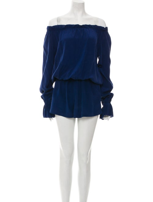 Emerson Thorpe Silk Off-The-Shoulder Romper Blue