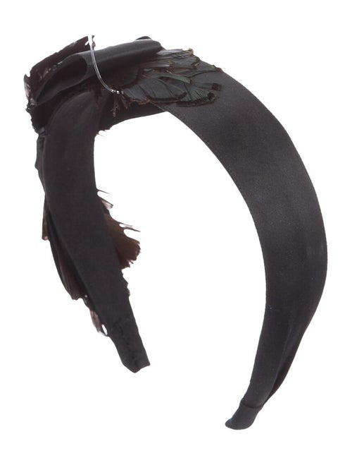 Eugenia Kim Satin Feather Headband Black