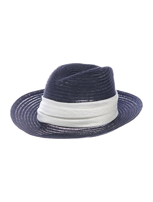 Eugenia Kim Straw Wide Brim Hat Blue