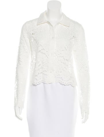 Alexis Lace Button-Up Top None