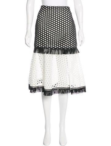 Alexis Eyelet Fringe-Trimmed Skirt