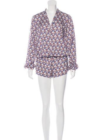 Alexis Abstract Print Silk Romper None