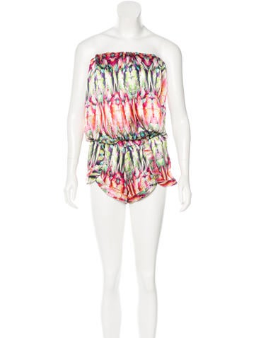 Alexis Printed Silk Romper w/ Tags None