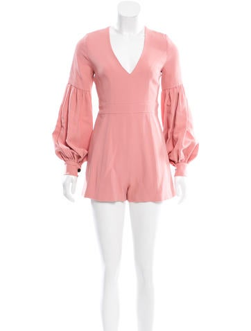 Alexis Pleat-Accented Bell Sleeve Romper w/ Tags