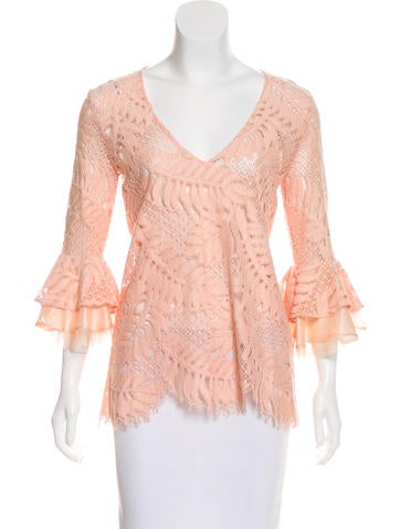 Alexis Silk-Trimmed Lace Top None