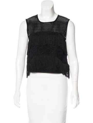 Alexis Fringe-Accented Sleeveless Top w/ Tags None