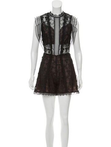 Lace Appliqué Sheer Accented Romper