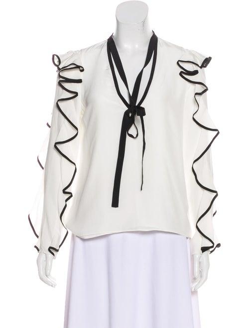 Alexis Long Sleeve Silk Blouse White