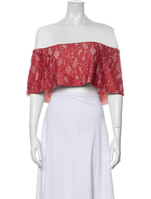 Alexis Cropped Lace Blouse Red