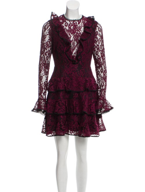 Alexis Lace Flared Dress Violet