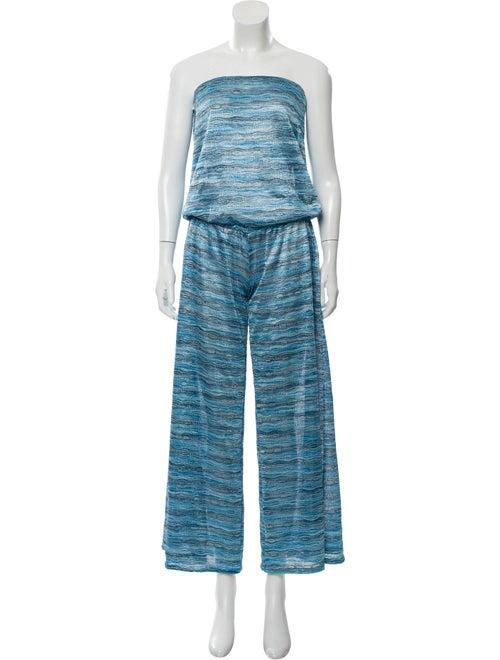 Alexis Metallic-Accented Sleeveless Jumpsuit Blue