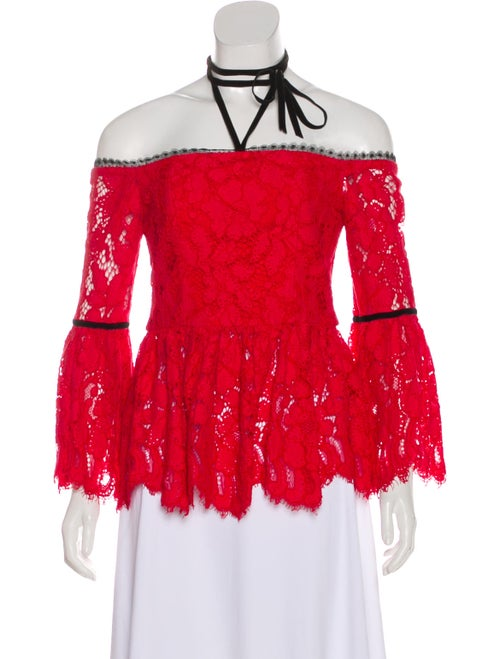 Alexis Lace Pattern Off-The-Shoulder Blouse Red