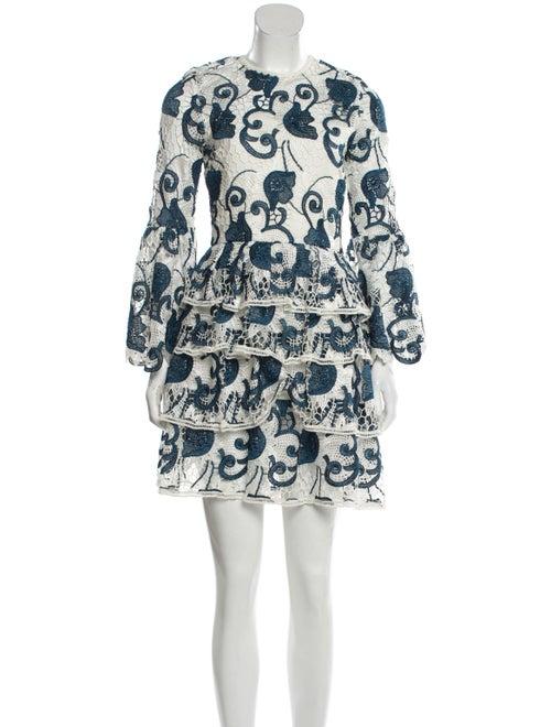 Alexis Lace Pattern Mini Dress Blue