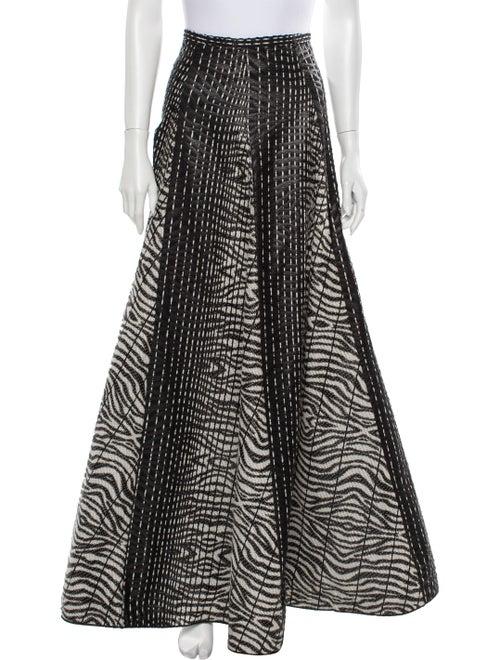 Alexis Animal Print Long Skirt Black