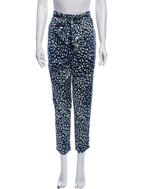 Alexis Animal Print Skinny Leg Pants Blue