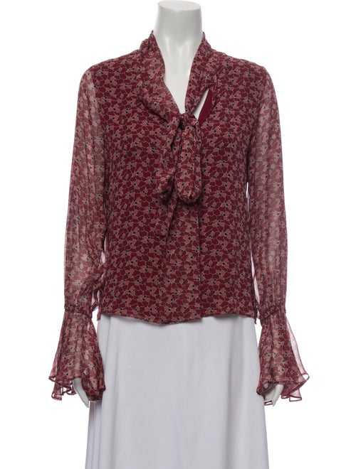 Alexis Silk Floral Print Button-Up Top Red
