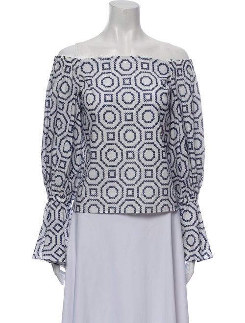 Alexis Printed Off-The-Shoulder Blouse White