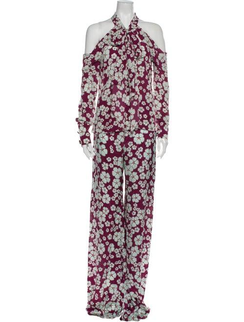 Alexis Silk Floral Print Pant Set Blue