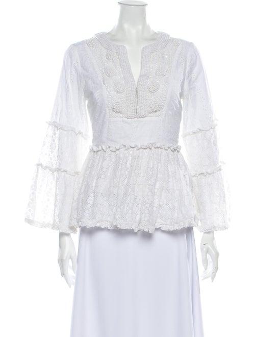 Alexis Lace Pattern V-Neck Blouse White - image 1