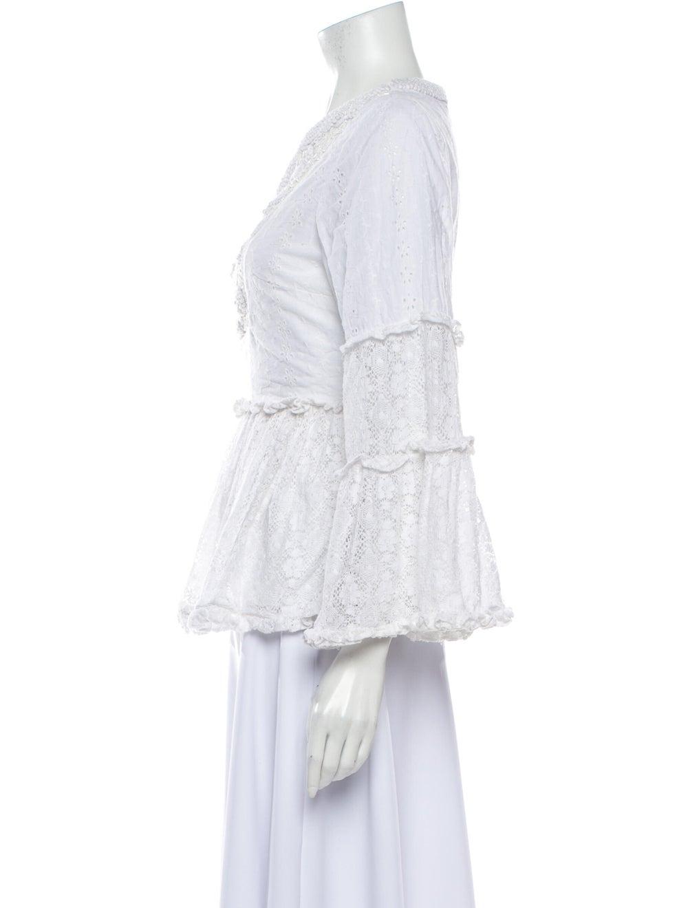 Alexis Lace Pattern V-Neck Blouse White - image 2