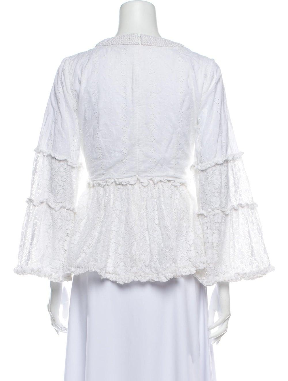 Alexis Lace Pattern V-Neck Blouse White - image 3