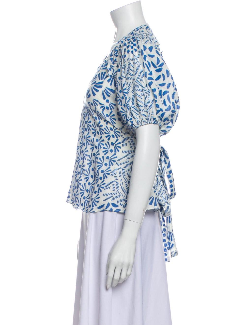 Alexis Linen Printed Blouse White - image 2