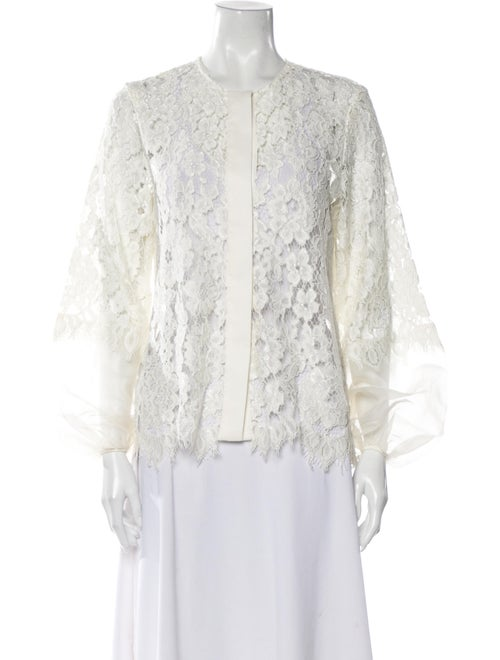 Alexis Lace Pattern Crew Neck Blouse White - image 1