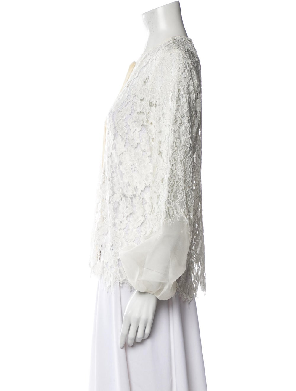 Alexis Lace Pattern Crew Neck Blouse White - image 2