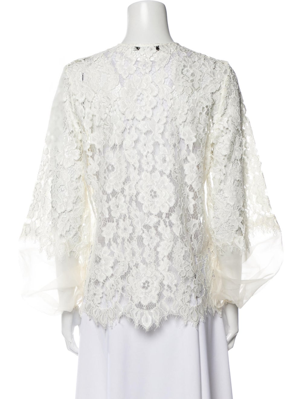 Alexis Lace Pattern Crew Neck Blouse White - image 3