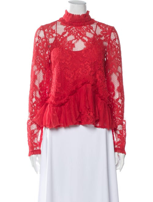 Alexis Lace Pattern Mock Neck Blouse Red