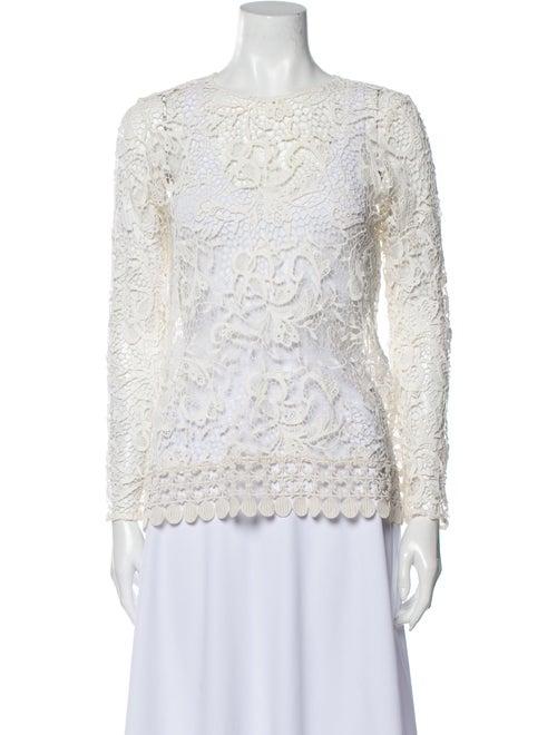 Alexis Lace Pattern Bateau Neckline Blouse White - image 1