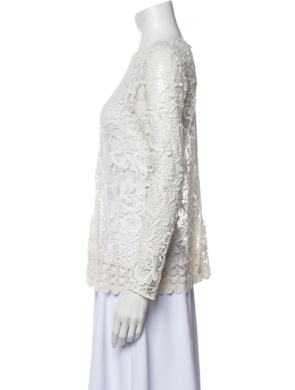 Alexis Lace Pattern Bateau Neckline Blouse White - image 2