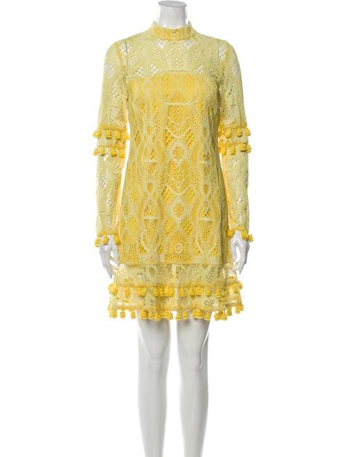 Alexis Lace Pattern Mini Dress Yellow