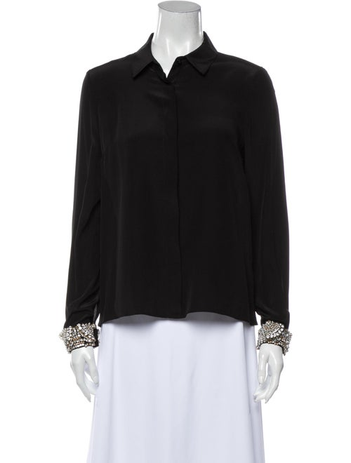 Alexis Silk Long Sleeve Button-Up Top Black