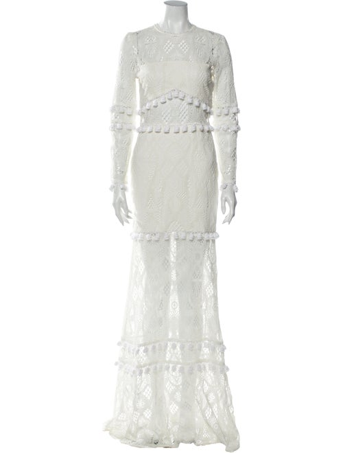 Alexis Lace Pattern Long Dress White
