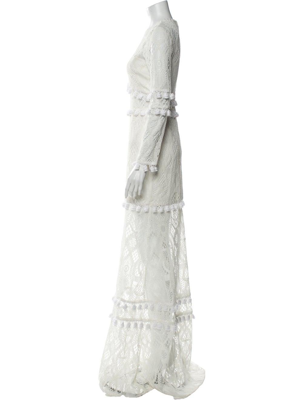 Alexis Lace Pattern Long Dress White - image 2
