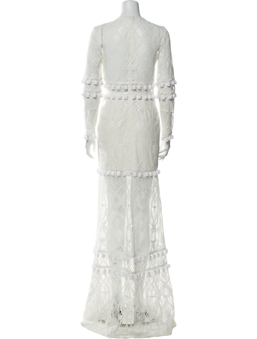 Alexis Lace Pattern Long Dress White - image 3