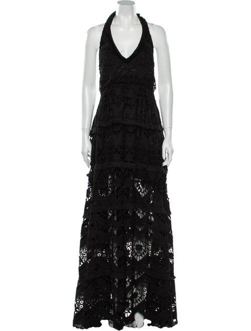 Alexis Lace Pattern Long Dress Black - image 1