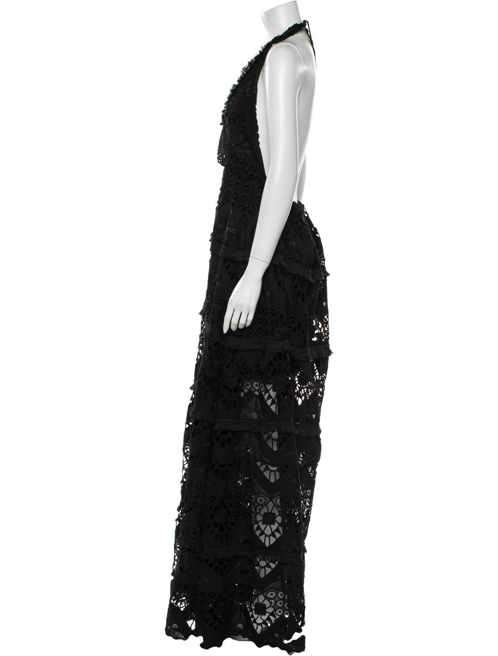 Alexis Lace Pattern Long Dress Black - image 2