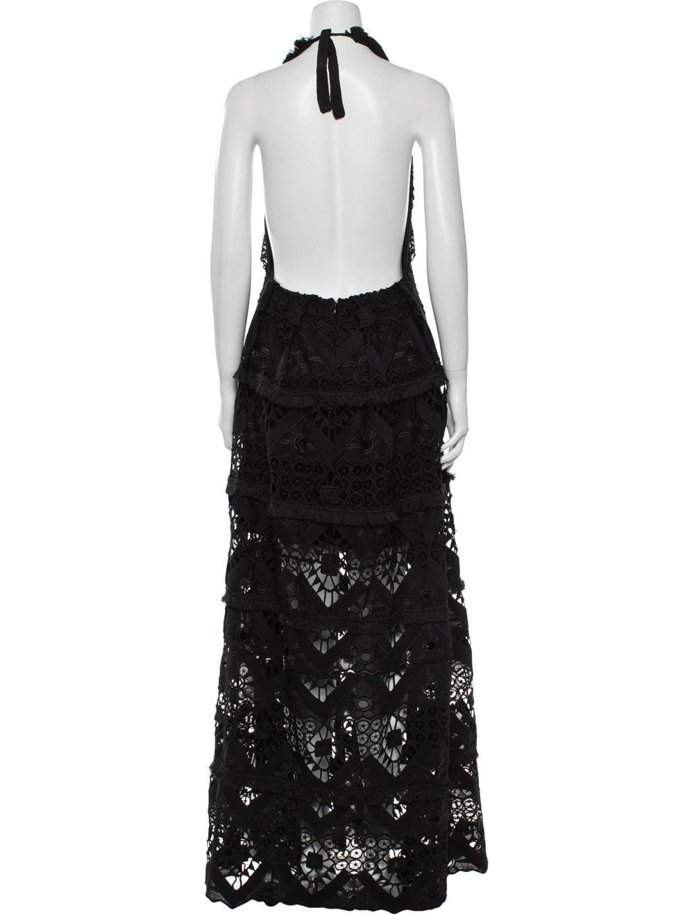 Alexis Lace Pattern Long Dress Black - image 3