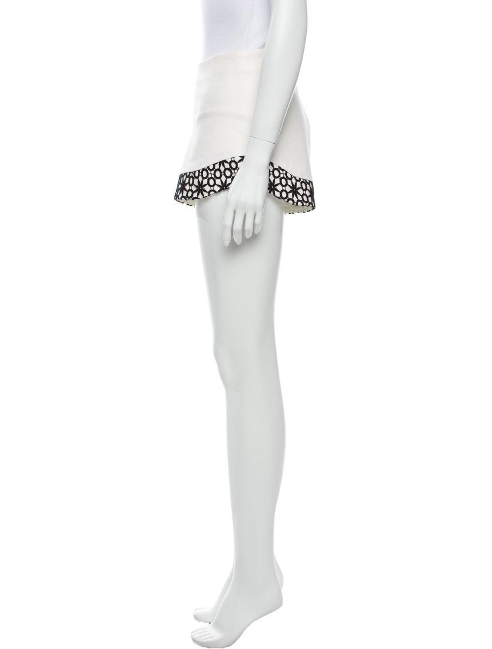 Alexis Lace Pattern Mini Shorts White - image 2