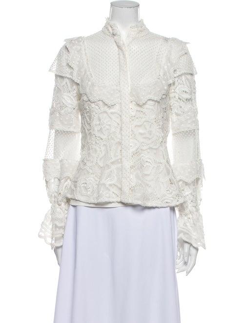 Alexis Lace Pattern Mock Neck Blouse White