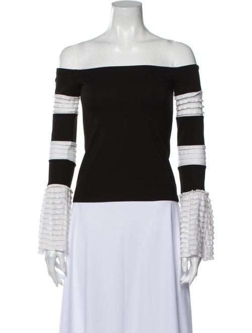 Alexis Striped Off-The-Shoulder Top Black