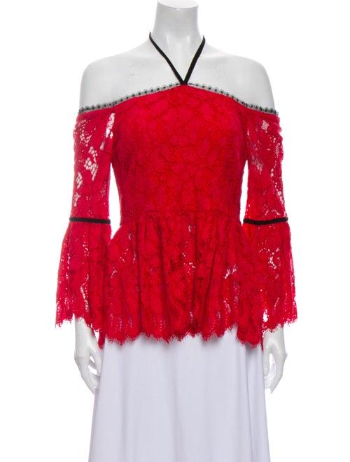 Alexis Lace Pattern Halterneck Blouse Red