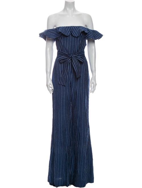 Alexis Linen Striped Jumpsuit Blue